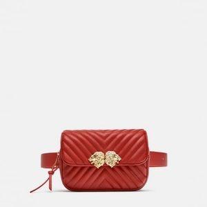 Zara Crossbody Belt Bag with Lions Detail NWOT